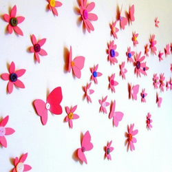 Funky Bright Pink Flower and Butterfly 3D Wall Art Decoration.