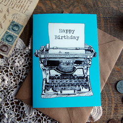 Illustrative Printed Typewriter Greeting Card 'Happy Birthday' - 4 Colours