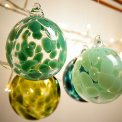 Jade Green Handmade Blown Glass Christmas Bauble