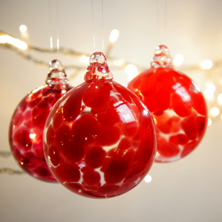 Mini Crimson Red Handmade Blown Glass Bauble