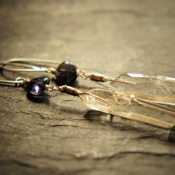 Violet Iolite, Quartz and Sterling Silver Dangle Earrings