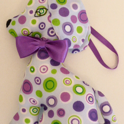 Hanging Dog Decoration with Purple Satin Bow