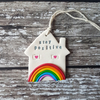 Stay Positive Rainbow House hanging decoration OR Magnet, Hand painted, Handmade