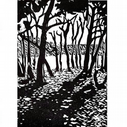 Through the Woods Lino cut