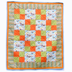 Sale - Modern Patchwork Quilt or Play Mat - Mod Tod Cotton and Flannel Fabric