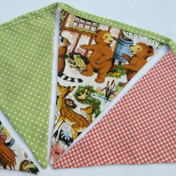 Vintage Fabric Bunting - Fairy Tale - Reversible to Patchwork Flowers