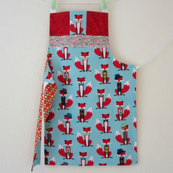Boys Reversible Apron - Mr Fox and the Stars and Stripes - Blue, Orange, Red