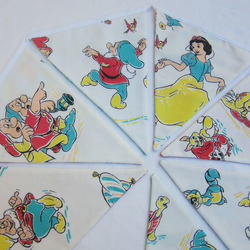Reversible Bunting made with Vintage Cartoon Storybook Fabric