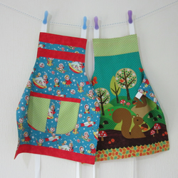 Child Reversible Apron - Space Kids and Woodland Friends