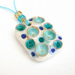 Porcelain Pendant with Glass - Rainwater Craters