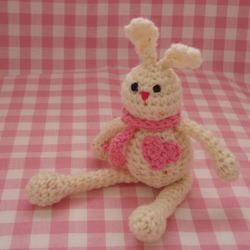 Bella the Big Hearted Bunny - crochet pocket pal
