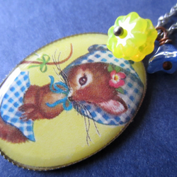 Retro country mouse flower bead summer animal charm necklace