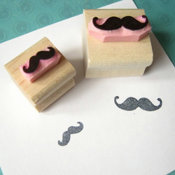 Pair of Mini Moustaches - Hand Carved Rubber Stamps