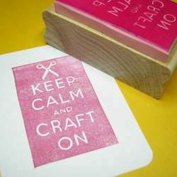 Keep Calm and Craft On - Hand Carved Rubber Stamp