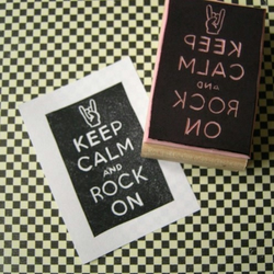 Keep Calm and Rock On - Hand Carved Rubber Stamp