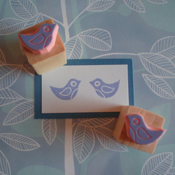 Tweet, tweet - pair of mini Birdie stamps
