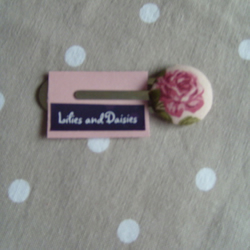 Rose vintage clip bookmark, vintage shabby chic