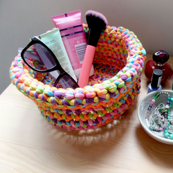 Multi coloured crochet basket