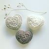Crochet lavender hearts, set of three organic cotton hearts,