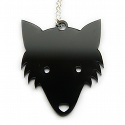 Fox Necklace in BLACK forest woodland plastic
