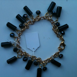 Black Onyx and crystal charm bracelet