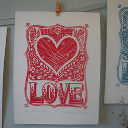 SALE Valentines Love is the word lino print.