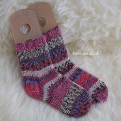 Girls Hand Knitted  Socks - Shades of Pink Fairisle Design