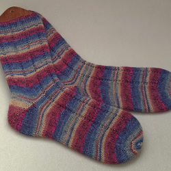 Womens Wool Socks - Handmade - Hand Knitted Ladies Socks -  UK 6-8 Opal Yarn