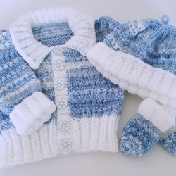 d1e69b4f10f This item is unavailable. Knitted Baby Boys Clothes - Cardigan Hat Mittens  ...