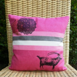 VINTAGE-INSPIRED HAND-PRINTED GOAT CUSHION COVER