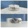 Sterling Silver Wide Band Ring - Winding Leaves - Handmade Metalwork