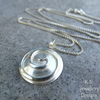 Sterling Silver Pendant Necklace - Spiral Disc - Handmade Metalwork Jewellery