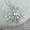Rainbow Moonstone Sterling Silver Snowflake Pendant - Christmas Icicle Necklace