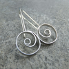 Spiral Circles Sterling Silver Earrings - Wirework Metalwork Spirals Dangly