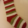Hand crochet stripey Christmas stocking in green, red and white