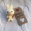 Cute handmade crochet miniature cream easter bunny with carrot gift present