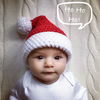 Hand crochet baby children Santa Father Christmas hat with pompom