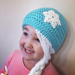 Cute Disney Frozen inspired girls winter beanie crochet hat with snowflake