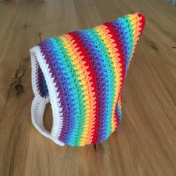 Adorable crochet rainbow striped baby pixie hood hat newborn girl boy 0-6 Months