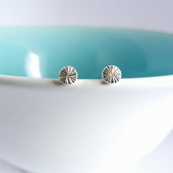 Tiny Round Seed Head studs, handmade in Sterling silver