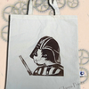 Darth Vadar Cat Tote Animal Linocut Hand Printed Cream Shopping Bag