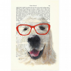 Geeky Dog with Red Glasses - original painting on a vintage science publication