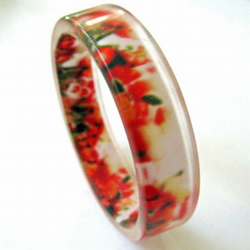 SALE - View Finder Bangle, Poppy Field - Handmade Resin Bangle
