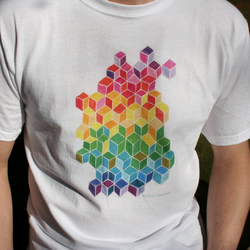 SALE: Rainbow colour cubes design medium T-shirt