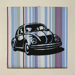 """VW Beetle Car"" A Handmade Silhouette Textile canvas"