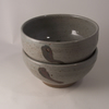 Small bowl. With white grey glaze and oxide decoration. Ceramics pottery