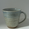 Amy and Victors wedding list. Stoneware coffee mug.  With speckled white glaze.