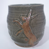 Beer mug.  With boxing hare decoration.  Celadon green glaze.