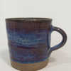 Reserved order for Julia, 2 Tall stoneware mug 2 plates glazed in blue beige.