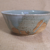 Tea bowl, (chawan). With poured speckled white and celadon glaze..